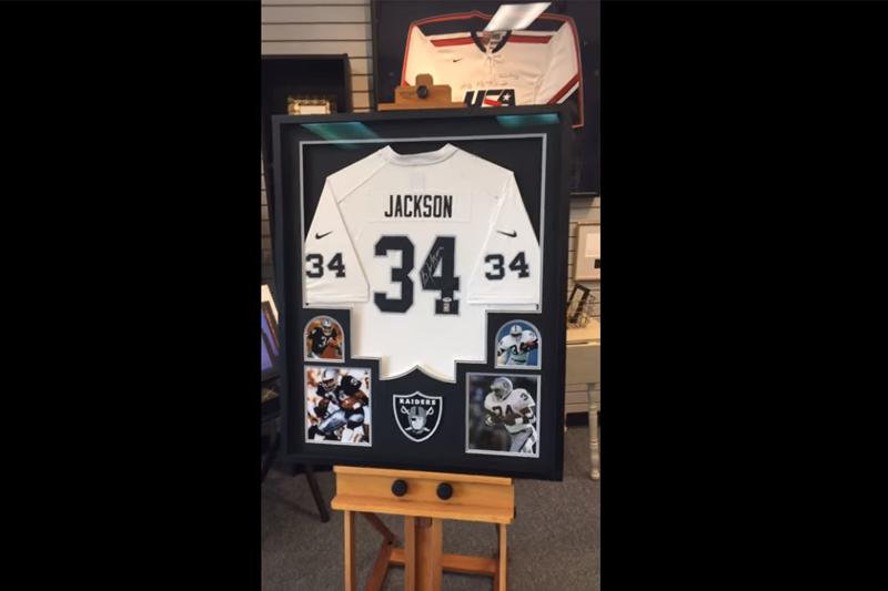 Bo Jackson Jersey in a Custom Framed Jersey Frame