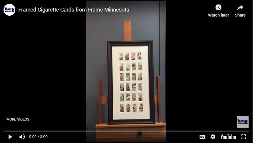 Framed Cigarette Cards from Frame Minnesota