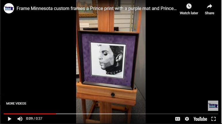 Frame Minnesota Custom Frames A Prince Print With A Purple Mat and Prince's Signature Symbol